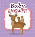 baby shower card with cute reindeer and chipmunk vector image vector image