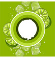 background with limes ice cubes and soda bubbles vector image
