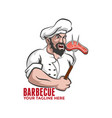 barbecue logo chef with meat on a fork vector image