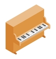 Brown upright piano icon isometric 3d style vector image