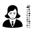 Business Lady Icon With Flying Drone Tools Bonus vector image
