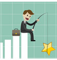 businessman sitting on the growing chart chart vector image
