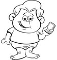 cartoon smiling baby holding a cell phone vector image vector image