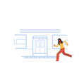casual woman running to catch train subway city vector image