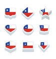 chile flags icons and button set nine styles vector image vector image