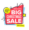 christmas sale sticker mega sale poster vector image