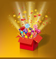 christmas sweet gift box open 3d-red box with yum vector image vector image