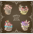 collection of vintage cupcakes watercolor splashes vector image vector image