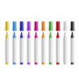 colorful marker pens set realistic vector image