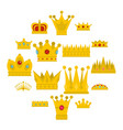 crown icons set in flat style vector image vector image