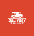 delivery service with truck van on red background vector image vector image