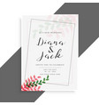 elegant wedding card design with cute leaves vector image