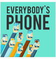 everybodys phone hands hold phones background vec vector image vector image