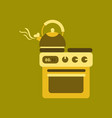 flat icon on background coffee kettle stove vector image vector image