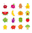 Funny fruits and vegetables characters cartoon set vector image