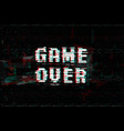 game over screen message vector image vector image