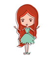 girly fairy without wings and redhead in green vector image