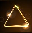 glowing orange neon triangle background vector image vector image