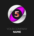 golden number four logo in silver-purple circle vector image vector image