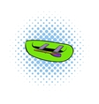 Green inflatable boat icon comics style vector image vector image
