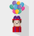 happy birthday card with cute dog vector image vector image