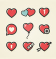 heart icon set for valentines day and wedding vector image