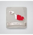 Icon of Malta map with flag vector image vector image