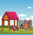 kids playing at park cartoons vector image