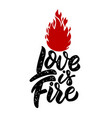 love is fire lettering phrase design element for vector image vector image