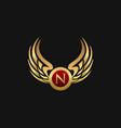 luxury letter n emblem wings logo design concept vector image vector image