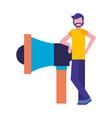 man standing near megaphone marketing vector image