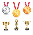 medals and trophies collection vector image vector image