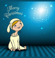 merry christmas blue background vector image vector image