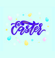 modern calligraphy lettering happy easter on mint vector image vector image