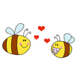 Mother Bee Flying With Baby Bee vector image vector image
