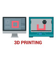 new generation of 3d printing machine printing a vector image vector image