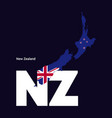 new zealand initial letter country with map and vector image