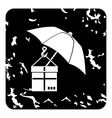 Parcel insurance icon grunge style