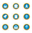 religious signage icons set flat style vector image vector image