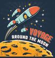 rocket flying around moon orbit vector image vector image