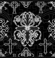 seamless pattern with white baroque crosses vector image vector image