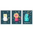 set of cat astrology zodiac sign cards vector image