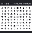 set simple icons travel and adventure vector image vector image
