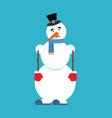 snowman sad sorrowful emoji new year and christmas vector image