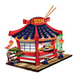 sushi bar in cartoon style vector image