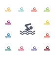swim flat icons set vector image