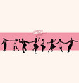 swing party time silhouettes of four young couple vector image vector image
