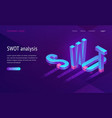 swot isometric landing page with abbreviation vector image vector image