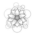 tattoo with lotus and circles on white background vector image vector image