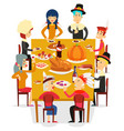 thanksgiving family friends eat meal pie turkey vector image vector image